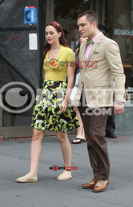 August 10, 2012  Ed Westwick,  Leighton Meester shooting on location for  Gossip Girl in New York City.Credit:&copy; RW/MediaPunch Inc. /NortePhoto.com*<br />