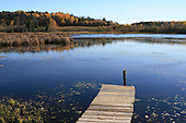 wooden quay on edge of a shallow lake, early fall  rural scenic in Quebec
