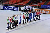 SHORTTRACK: AMSTERDAM: 05-01-2014, Jaap Edenbaan, NK Shorttrack, Wilhelmus klinkt voor de Nederlands kampioenen, ©foto Martin de Jong