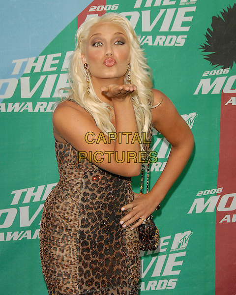 BROOKE HOGAN.2006 MTV Movie Awards - Arrivals,.held at The Sony Picture Studios in Culver City, Los Angeles, California, USA, June 3rd 2006..half length leopard print dress funny blowing kiss gesture pouting.Ref: DVS.www.capitalpictures.com.sales@capitalpictures.com.©Debbie VanStory/Capital Pictures