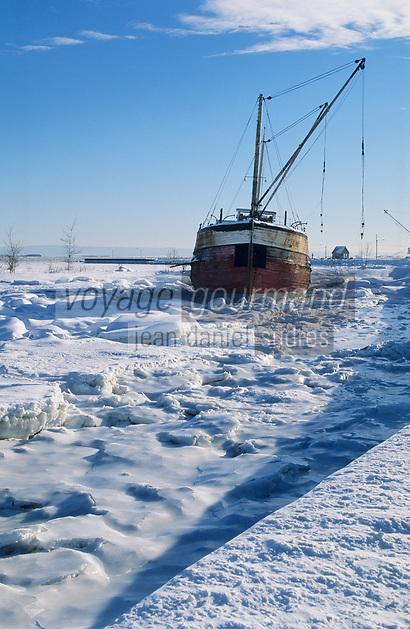 Amérique/Amérique du Nord/Canada/Quebec/Saint-Joseph-La-Rive : Le Saint-Laurent pris par les glaces