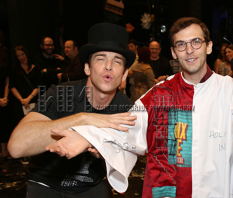 Andy Karl, Joseph Medeiros during the Actors' Equity Opening Night Gypsy Robe Ceremony honoring Joseph Medeiros for 'Groundhog Day' at the August Wilson Theatre on April 17, 2017 in New York City