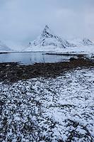 Volandstind mountain peak rises over winter coastline, Flakstadøy, Lofoten Islands, Norway