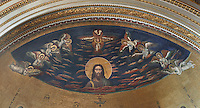 Apsidal mosaic, 1291, created by Jacopo Torriti, commissioned by Nicholas IV, Arcibasilica Papale di San Giovanni in Laterano (The Papal Archbasilica of St. John Lateran), by Constantine the Great, 4th century, Vatican City, Rome, Italy. The apse mosaic depicts the miraculous appearance of Christ in the basilicas apse at the time of its consecration by Pope Sylvester. Picture by Manuel Cohen