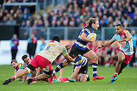 Max Clark of Bath Rugby takes on the Harlequins defence. Aviva Premiership match, between Bath Rugby and Harlequins on February 18, 2017 at the Recreation Ground in Bath, England. Photo by: Patrick Khachfe / Onside Images