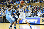 03 March 2013: Duke's Allison Vernerey (FRA) (43) and North Carolina's Xylina McDaniel (34). The Duke University Blue Devils played the University of North Carolina Tar Heels at Cameron Indoor Stadium in Durham, North Carolina in a 2012-2013 NCAA Division I and Atlantic Coast Conference women's college basketball game. Duke won the game 65-58.