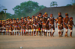 Parade at Kwarup (funeral) ceremony, Upper Xingu Indians, Matogrosso, Brazil