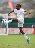 Eder Velasquez (6) takes a first touch on the ball during the group stage of the CONCACAF Men's Under 17 Championship at Catherine Hall Stadium in Montego Bay, Jamaica. Honduras defeated Barbados, 2-1.