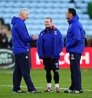 Bath Director of Rugby Todd Blackadder, first team coach Darren Edwards and Head Coach Tabai Matson have a word during the pre-match warm-up. Aviva Premiership match, between Harlequins and Bath Rugby on November 27, 2016 at the Twickenham Stoop in London, England. Photo by: Patrick Khachfe / Onside Images