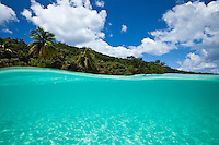 Split level image of Hawksnest Beach.Virgin Islands National Park.St John.U.S. Virgin Islands
