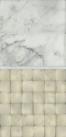 Giovanni Barbieri concept board showing Calacatta Timeworn 6x12 inch bricks, Statuary Carrara pencil molding honed, and Bianco Antico Timeworn 2x2 inch bricks.