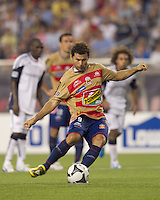 Monarcas Morelia forward Miguel Sabah (9) converts the penalty kick. First goal of the match. Monarcas Morelia defeated the New England Revolution, 2-1, in the SuperLiga 2010 Final at Gillette Stadium on September 1, 2010.
