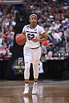 DALLAS, TX - MARCH 31:  Tyasha Harris #52 of the South Carolina Gamecocks dribbles during the 2017 Women's Final Four at American Airlines Center on March 31, 2017 in Dallas, Texas. (Photo by Justin Tafoya/NCAA Photos via Getty Images)