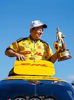 Aug 21, 2016; Brainerd, MN, USA; NHRA funny car driver Del Worsham celebrates after winning the Lucas Oil Nationals at Brainerd International Raceway. Mandatory Credit: Mark J. Rebilas-USA TODAY Sports