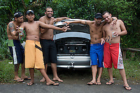 Young men show off their car sound system, Cubatão