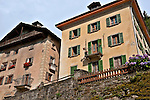 Houses in the small town of Promotogno in the Swiss valley of Bregaglia