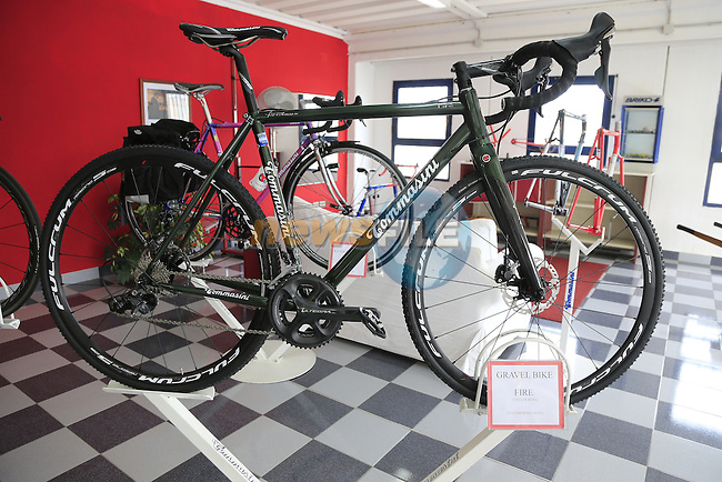 The Fire Gravel bike model in the showroom at the Tommasini factory based in Grosseto, Tuscany, Italy 6th March 2017.<br /> Picture: Eoin Clarke | Newsfile<br /> <br /> <br /> All photos usage must carry mandatory copyright credit (&copy; Newsfile | Eoin Clarke)
