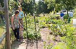 Angela Lash and Jim Harris explore the garden at the Child Development Cetner with their daughter Hazel Harris. Photo By Ben Siegel/ Ohio University