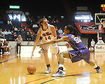 "Ole Miss' Elizabeth Robertson (14) vs. LSU's LaSondra Barrett (55) on Sunday, January 17, 2010 at the C.M. ""Tad"" Smith Coliseum in Oxford, Miss. Ole Miss won 80-71."