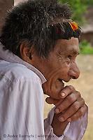 Machiguenga shaman Mariano, a native Indian from Tayakome, lowland tropical rainforest, Manu National Park, Madre de Dios, Peru.