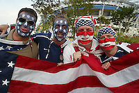 USA fans. The USA lost 3-1 against Poland in the FIFA World Cup 2002 in Korea on June 14, 2002.