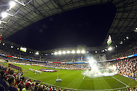 The New York Red Bulls and Philadelphia Union line up prior to the start of the match. The New York Red Bulls and the Philadelphia Union played to a 0-0 tie during a Major League Soccer (MLS) match at Red Bull Arena in Harrison, NJ, on August 17, 2013.