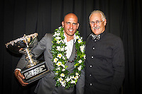 GOLD COAST, Queensland/Australia (Thursday, February 24, 2011)  Kelly Slater (USA) and photographer Peter Joli Wilson (AUS). Photo by mrsjoli. &ndash;The ASP World Surfing Awards was held  tonight at the Gold Coast Convention and Exhibition Centre. <br /> Surfing&rsquo;s &ldquo;night of nights&rdquo;, the ASP World Surfing Awards, was a gala event, hosting the world&rsquo;s best surfers as well as distinguished figures from the surfing industry to honor of the 2010 ASP World Champions.<br />  <br /> Kelly Slater (USA), 39,  accepted his history-making and unprecedented tenth ASP World Title just a day before opening his 2011 ASP World Title campaign at the Quiksilver Pro Gold Coast.  <br /> Stephanie Gilmore (AUS), 23,  made her own history ton the  evening, collecting her fourth consecutive Women&rsquo;s World Title. Gilmore will begin her 2011 assault this weekend at the opening event of the 2011 ASP Women&rsquo;s World Title season, the Roxy Pro Gold Coast.<br />  <br /> Slater and Gilmore headlined a slew of incredible athletes on the evening.<br />  <br /> Awards Recipient List:<br />  <br /> 2010 ASP World Champion:Kelly Slater (USA)<br /> 2010 ASP Women&rsquo;s World Champion:Stephanie Gilmore (AUS)<br />  <br /> 2010 ASP World Tour Runner-Up:Jordy Smith (ZAF)<br /> 2010 ASP Women&rsquo;s World Tour Runner-Up:Sally Fitzgibbons (AUS)<br />  <br /> 2010 ASP World Tour Rookie of the Year: Owen Wright (AUS)<br /> 2010 ASP Women&rsquo;s World Tour Rookie of the Year:Carissa Moore (HAW<br />  <br /> 2010 ASP World Tour &lsquo;Breakthrough Performer&rsquo;:TBA<br /> 2010 ASP Women&rsquo;s World Tour &lsquo;Breakthrough Performer&rsquo;:TBA<br />  <br /> 2010 ASP World Longboard Champion:Duane DeSoto (HAW)<br /> 2010 ASP Women&rsquo;s World Longboard Champion:Cori Schumacher (HAW)<br />  <br /> 2010 ASP World Junior Champion:Jack Freestone (AUS)<br /> 2010 ASP Women&rsquo;s World Junior Champion:Alizee Arnaud (FRA)<br />  <br /> Photo: joliphotos.com