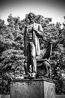 "Black and white Chicago Abraham Lincoln ""The Man"" standing statue in Lincoln Park"