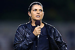 18 October 2012: Former UNC player Mia Hamm talks to the crowd at halftime on behalf of Be The Match, a foundation dedicated to finding bone marrow transplant donors for leukemia patients. The University of North Carolina Tar Heels defeated the Duke University Blue Devils 2-0 at Koskinen Stadium in Durham, North Carolina in a 2012 NCAA Division I Women's Soccer game.
