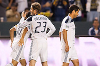 LA Galaxy players from L to R; Landon Donovan (10), David Beckham (23) and Juan Pablo Angel (9) congratulate each other after a Leonardo goal. The LA Galaxy defeated the Philadelphia Union 1-0 at Home Depot Center stadium in Carson, California on  April  2, 2011....