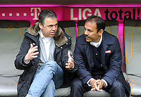 FUSSBALL   1. BUNDESLIGA  SAISON 2011/2012   29. Spieltag FC Bayern Muenchen - FC Augsburg       07.04.2012 Geschaeftsfuehrer Andreas Rettig (li,) mit Trainer Jos Luhukay (FC Augsburg)