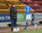 St Johnstone v Aberdeen.....07.12.13    SPFL<br /> Rory Fallon runs off past Tommy Wright after being sent off by ref Willie Collum<br /> Picture by Graeme Hart.<br /> Copyright Perthshire Picture Agency<br /> Tel: 01738 623350  Mobile: 07990 594431
