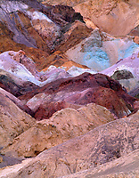CADDV_009 - Layers of colored rock at Artist's Palette are produced by oxidation of various minerals, Death Valley National Park, California, USA --- (4x5 inch original, File size: 6000x7669, 132mb uncompressed).
