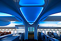 10/23/2009--Renton, WA, USA..Interior cabin mockup of the Boeing 787 Dreamliner at the Boeing Customer Experience Center. View of the ceiling on entry into aircraft with domed ceiling..©2009 Stuart Isett. All rights reserved.
