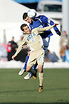 3 December 2006: UCSB's Chris Pontius (behind) leaps over UCLA's Jason Leopoldo (2) for a header. California-Santa Barbara defeated California-Los Angeles 2-1 at Robert R. Hermann Stadium in St. Louis, Missouri in the NCAA men's college soccer tournament final game to win the 2006 NCAA Championship.