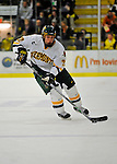 1 February 2008: University of Vermont Catamounts' defenceman Josh Burrows, a Freshman from Prairie Grove, IL, in action against the University of New Hampshire Wildcats at Gutterson Fieldhouse in Burlington, Vermont. The seventh-ranked Wildcats defeated the Catamounts 5-1in front of a sellout crowd of 4,003...Mandatory Photo Credit: Ed Wolfstein Photo