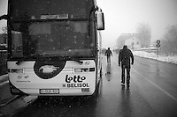 Milan - San Remo 2013: the iced edition.<br /> Lotto-Belisol team bus waiting for the riders to come in at the neutralised zone
