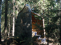 A shingled gazebo is a natural sun spot tucked in amongst the trees of the Glaskogen nature reserve