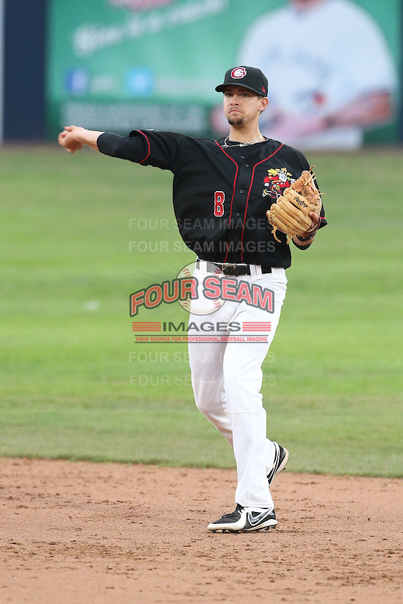 Ryan Metzler #8 of the Vancouver Canadians during a game against the Hillsboro Hops at Nat Bailey Stadium on July 24, 2014 in Vancouver, British Columbia. Vancouver defeated Hillsboro, 5-2. (Larry Goren/Four Seam Images)