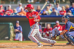 7 March 2013: Washington Nationals outfielder Michael Taylor connects for an RBI single during a Spring Training game against the Houston Astros at Osceola County Stadium in Kissimmee, Florida. The Astros defeated the Nationals 4-2 in Grapefruit League play. Mandatory Credit: Ed Wolfstein Photo *** RAW (NEF) Image File Available ***