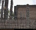 Ki'i Guardians, Hale o Keawe Heaiu, thatched Royal Mausoleum, Pu'uhonua o Honaunau, Place of Refuge, Pu'uhonua o Honaunau National Historical Park, South Kona Coast, Big Island of Hawaii