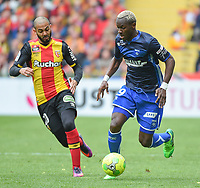 20170415 - LENS , FRANCE : Lens' Abdelrafik Gerard (L) and Auxerre's Mohamed Lamine Yattara (R) pictured during the soccer match between Racing Club de LENS and AJ Auxerre , on the thirty third matchday in the French Dominos pizza Ligue 2 at the Stade Bollaert Delelis stadium , Lens . Saturday 15 April 2017 . PHOTO DIRK VUYLSTEKE | SPORTPIX.BE