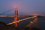 The Golden Gate Bridge at dusk in San Francisco, CA, USA