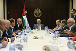 Palestinian President Mahmoud Abbas chairs a meeting of the Executive Committee of the Palestine Liberation Organization (PLO), in the West Bank city of Ramallah, October 31, 2013. Photo by Thaer Ganaim