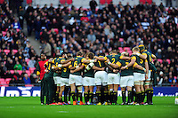The South Africa team huddle together prior to the match. Killik Cup International match, between the Barbarians and South Africa on November 5, 2016 at Wembley Stadium in London, England. Photo by: Patrick Khachfe / JMP