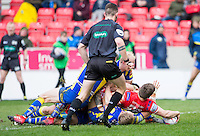 Picture by Allan McKenzie/SWpix.com - 04/03/2017 - Rugby League - Betfred Super League - Salford Red Devils v Warrington Wolves - AJ Bell Stadium, Salford, England - Salford's Kris Brining touches the ball down to score a try against Warrington.