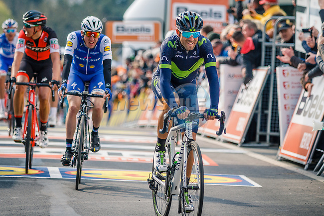 Alejandro Valverde (ESP) Movistar Team wins his 5th Fleche with Daniel Martin (IRL) Quick-Step Floors in 2nd place and Dylan Teuns (BEL) BMC Racing Team at the end of La Fleche Wallonne 2017, Huy, Belgium. 19th April 2017. Photo by Thomas van Bracht / PelotonPhotos.com
