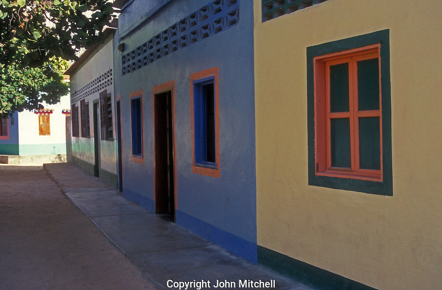 Brightly painted houses on Gran Roque, Los Roques islands, Venezuela