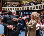 Commissioned work for the New York Times<br /> <br /> TALLAHASSEE, FL - May 1, 2014:  Florida Senate co-sponsors Senators Rene Garcia(L) and Jack Latvala hug each other as Senator Maria Lorts Sachs applauds after the bill allowing undocumented students to pay in-state tuition for Florida colleges.   CREDIT: Mark Wallheiser for the New York Times