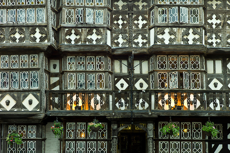 Jacobean timber-framed The Feathers Hotel in The Bull ring at Ludlow, Shropshire, UK